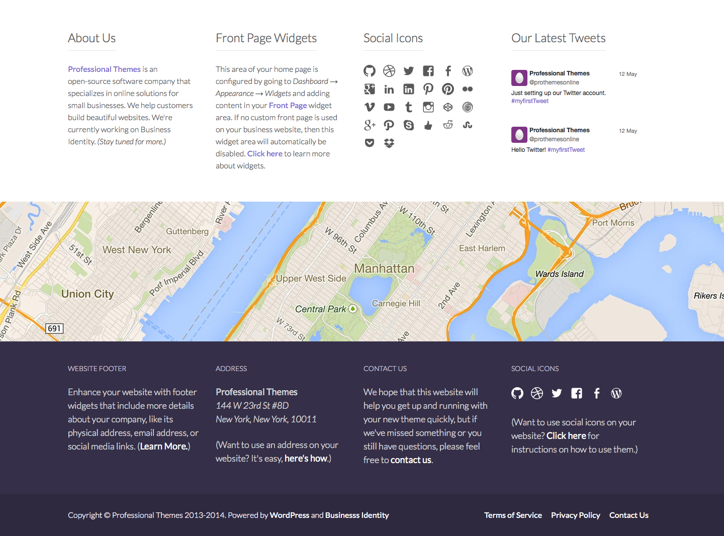 Front Page and Footer Widgets