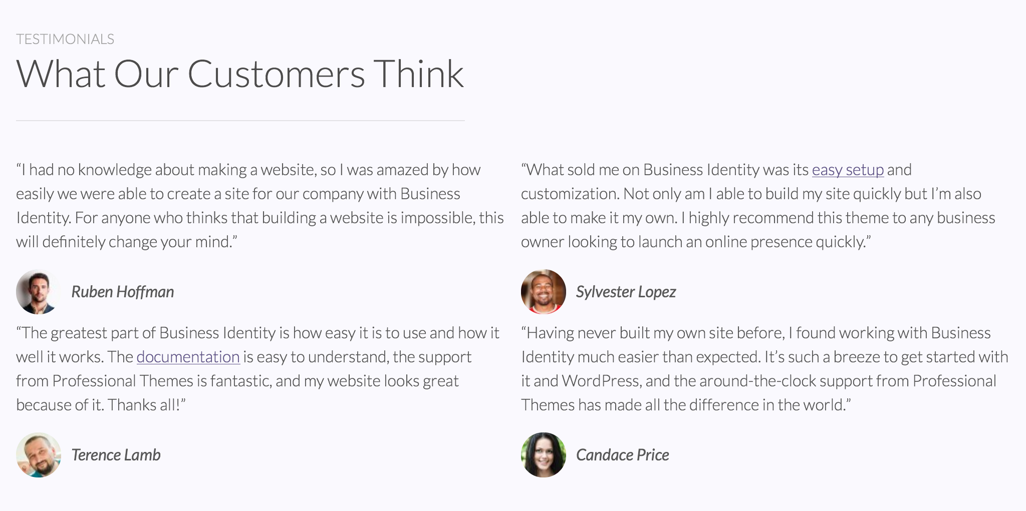 Front Page Testimonials
